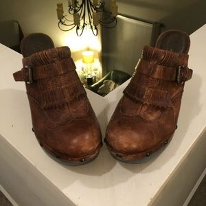 Used brown leather clogs with 4 inch heel